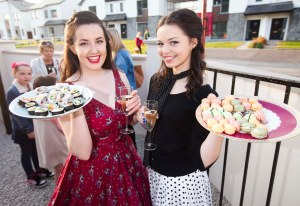 'The Dancing Waitresses' Ellen Murphy ans Rebecca Friel at the official opening of Locks and Lace, Hair, Hats and Happiness in Strandhill last Saturday.